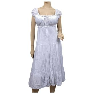 202f5afdcdd9 Plus Size White Cotton Empire Waist SunDress