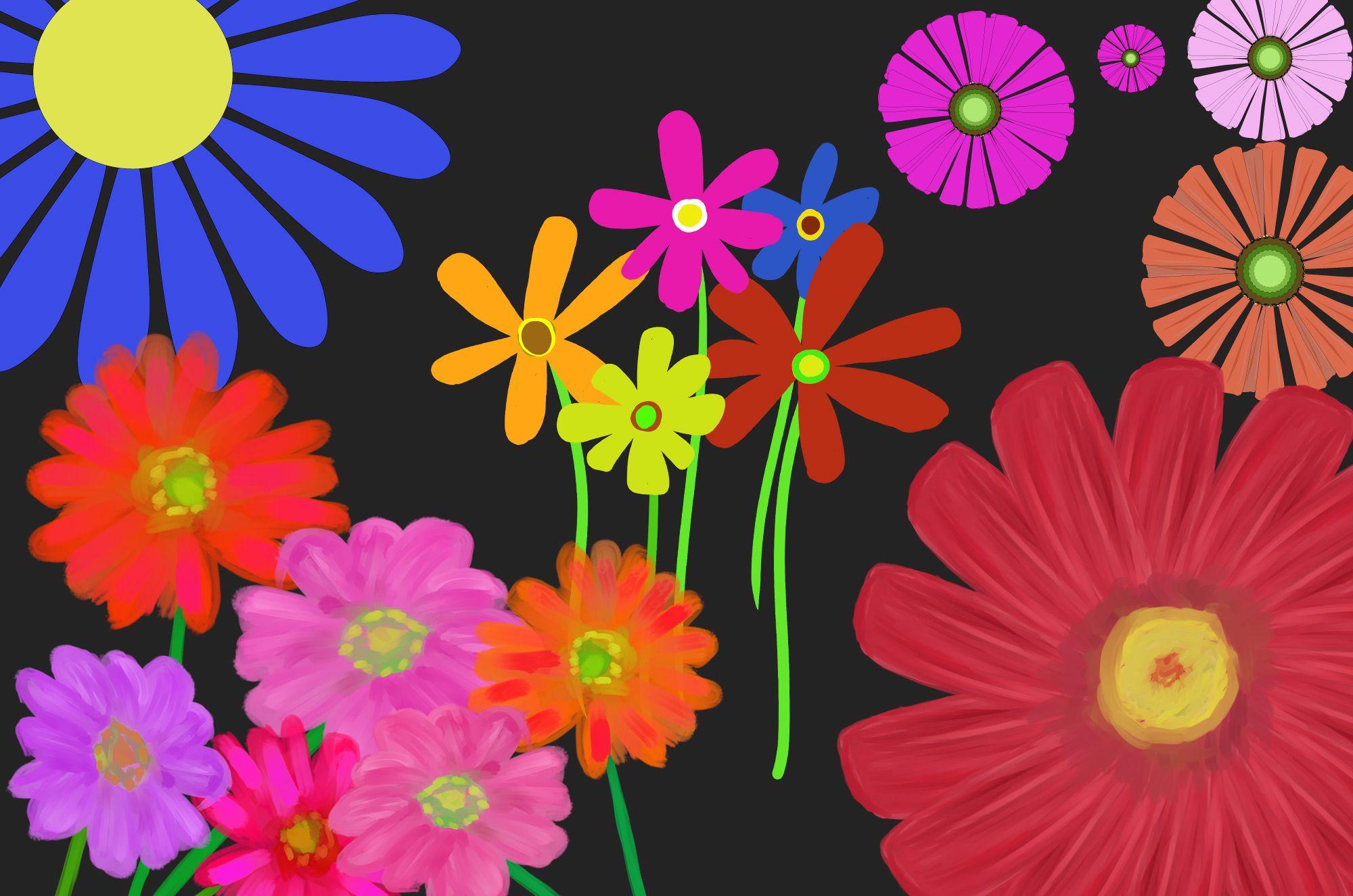 ガーベラの可愛い無料イラスト素材!カラフルなビビドカラーがとっても