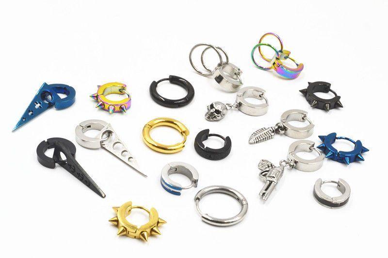 LOT50pcs PUNK  Men//Women Hoop Ear Stud  Stainless Steel Earring Hoop  Piercing