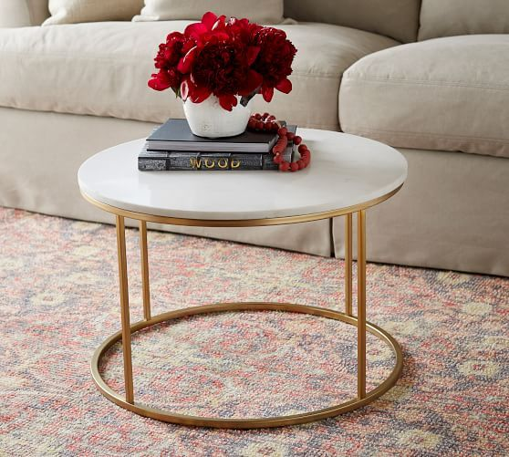 Delaney Marble Round Coffee Table is part of Cool Home Accessories Coffee Tables - With its white Carrara marble top and antiquebrassfinished base, this Delaney Round Coffee Table is a fresh decor piece for a seating area  The airy, simplified profile makes it ideal for entertaining friends in smaller spaces