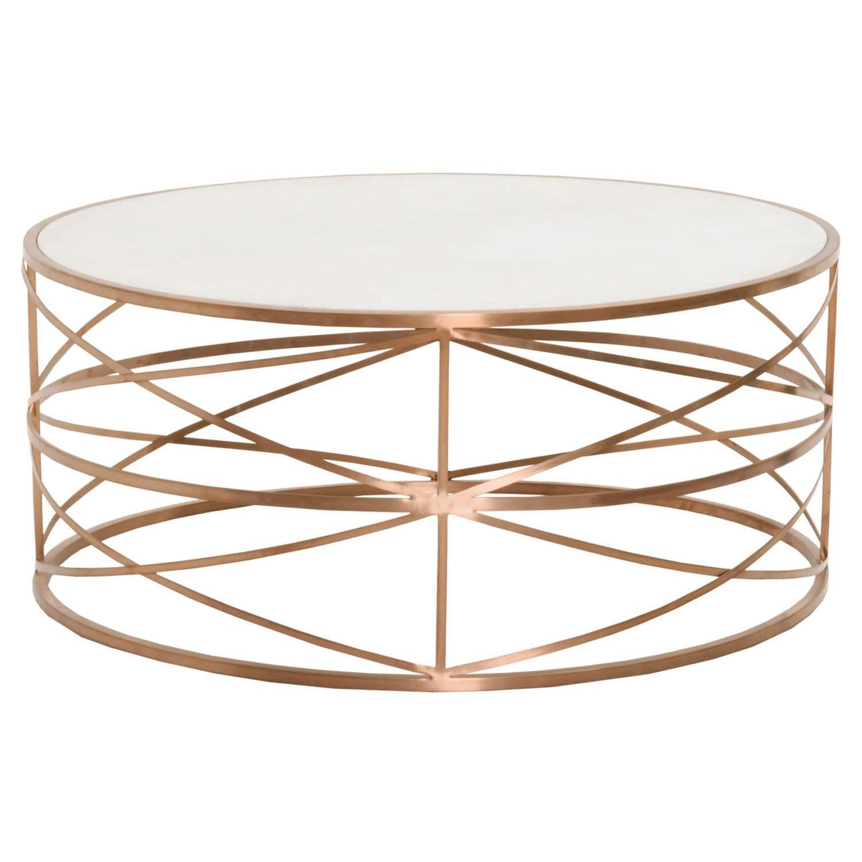 Santorini Brushed Gold Gloss White Coffee Table: Melrose Round Coffee Table Brushed Rose Gold