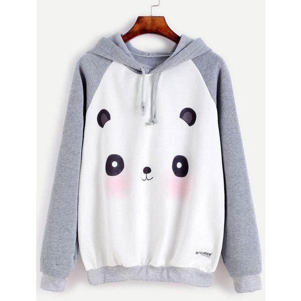 b04dc6ef5 Contrast Cartoon Panda Print Raglan Sleeve Hooded Sweatshirt ❤ liked on  Polyvore featuring tops, hoodies, sweatshirts, hooded sweatshirt, print  hoodies, ...