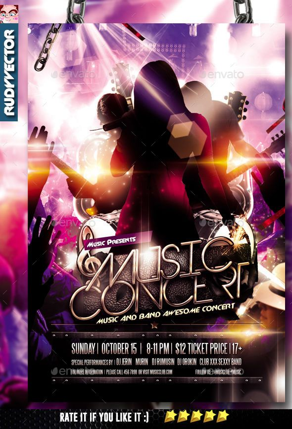 Concert Music Band Flyer  Concert Flyer Flyer Template And Event