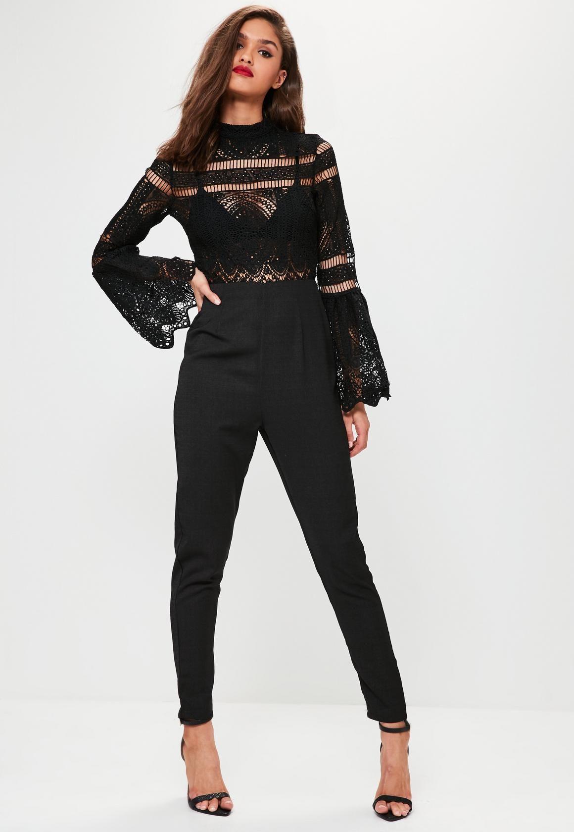edc874c1d79 Black Crochet Lace Top Flare Sleeve Jumpsuit - Missguided