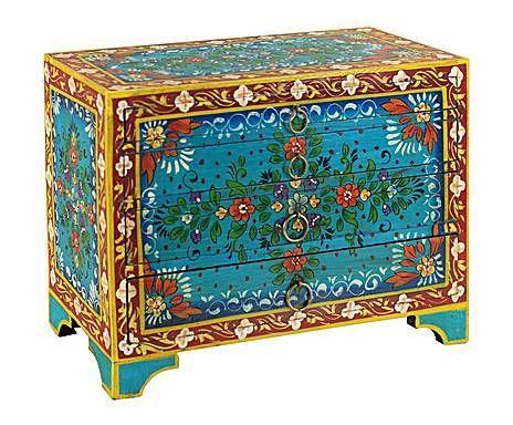 Remember India: Caja de Madera de pino con 4 cajones – azul y ...