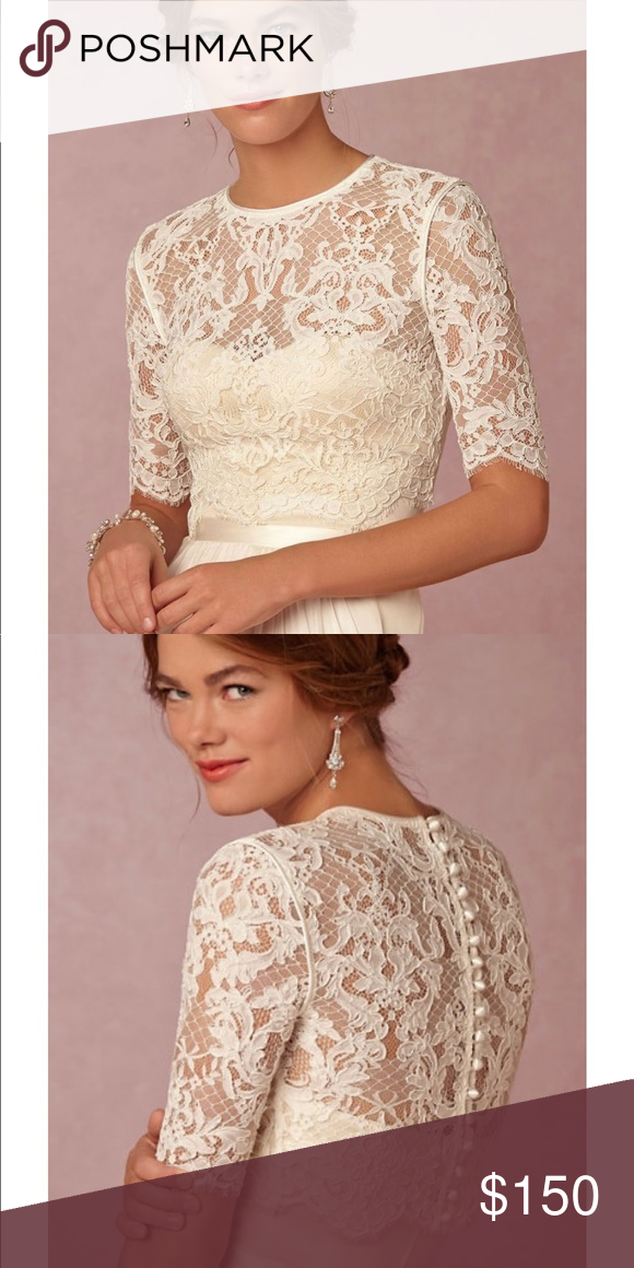 6e98d171af6 BHLDN Dasha Lace Topper BHLDN from Anthropology Dasha half sleeve lace  topper in Ivory Size 6