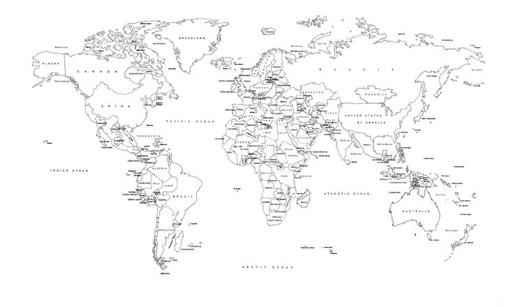 Black And White World Map Labeled Countries Dorm Art In 2019