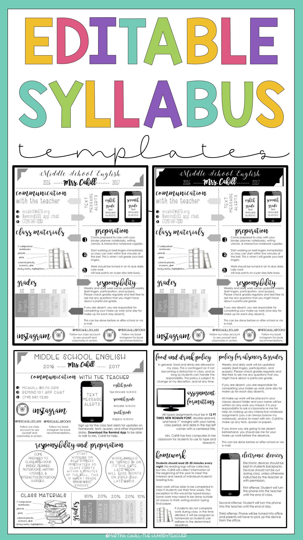 Meet The Teacher Editable And Syllabus Templates Editable Bundle Middle School Syllabus Syllabus Template Meet The Teacher