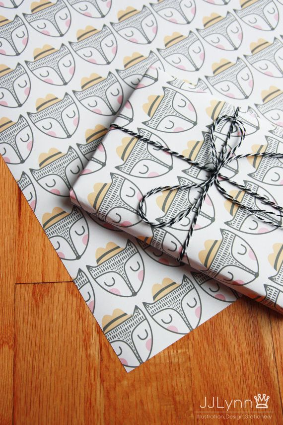 printable gift wrapping paper with fox illustrations / super cut fox wrapping paper / instant download /nordic illustration wrapping paper
