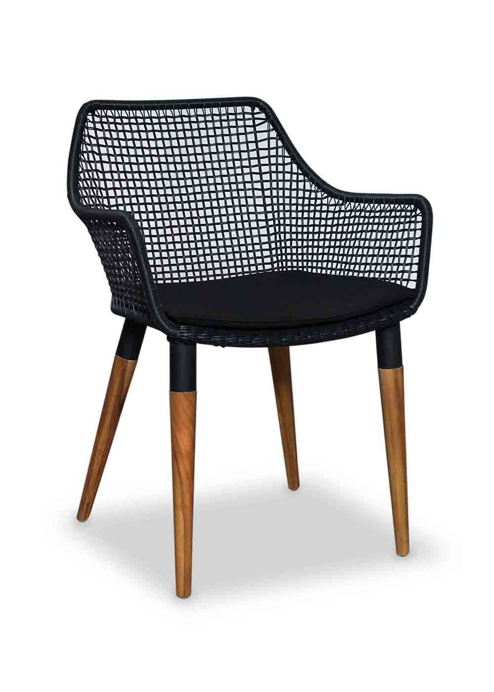 The Emerson Graph Arm Chair Has A Steel Body With Solid Teak Wood Legs And  Faux