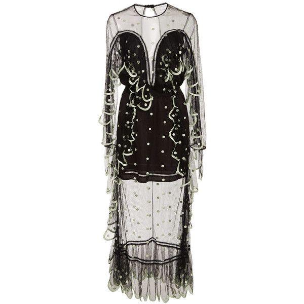 Alice McCall Black Seniorita Dress (€400) ❤ liked on Polyvore featuring dresses, black, alice mccall, alice mccall dress, see-through dresses, scallop trim dress and scallop hem dress