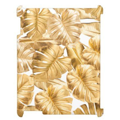 Aloha tropical gold monstera leaves ipad cover pronofoot35fo Gallery
