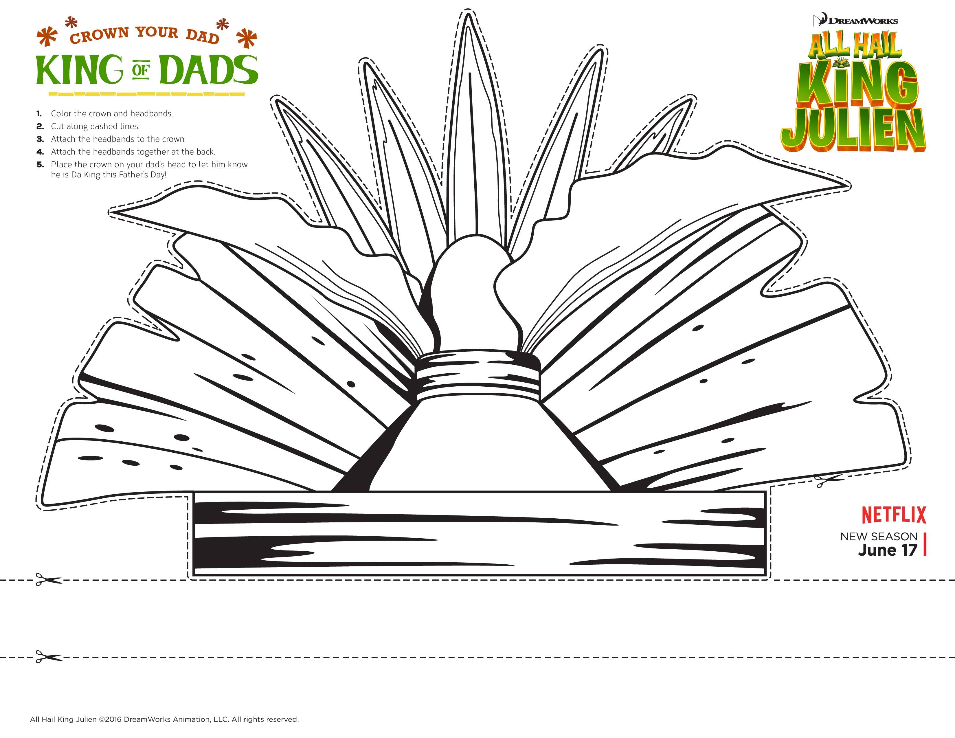 Celebrate Father S Day With A Printable Crown From All Hail King Julien Fathersday Fsm Media Father S Day Activities Crown Crafts King Julien Party