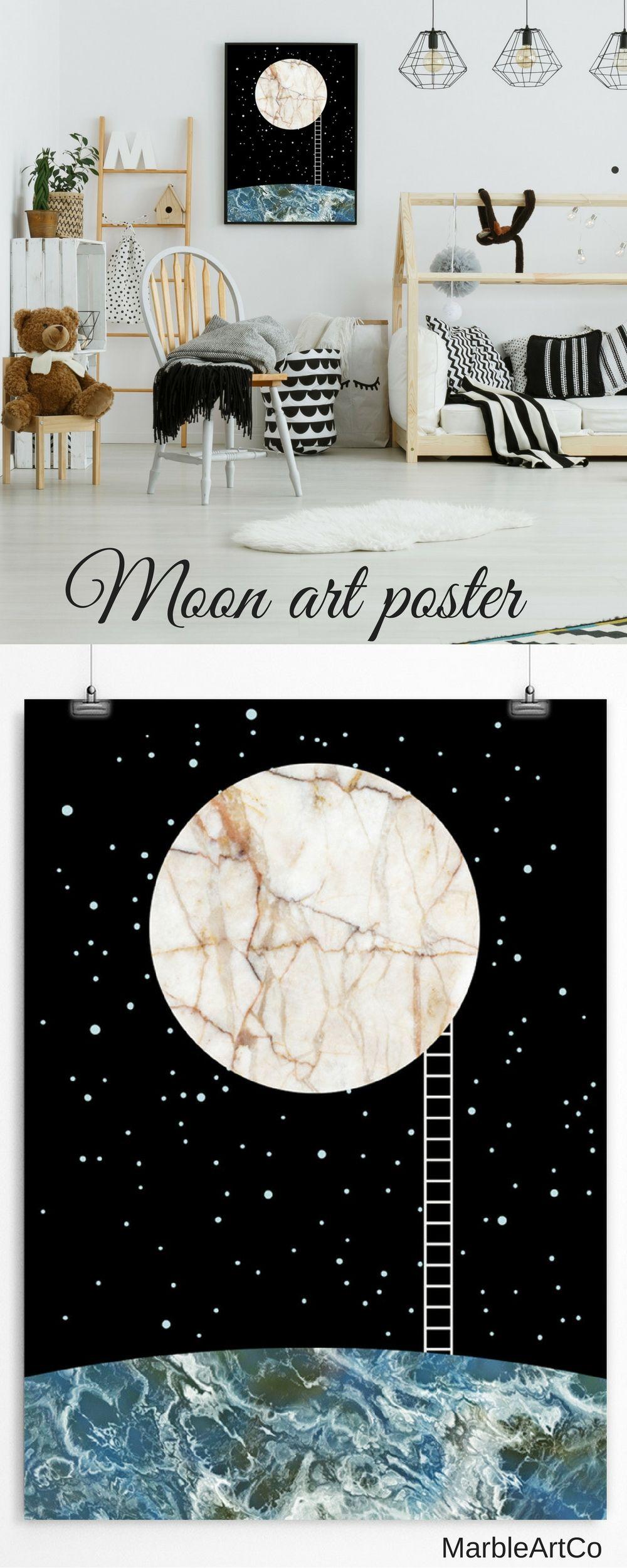 Moon poster space poster scandinavian nursery moon art night sky