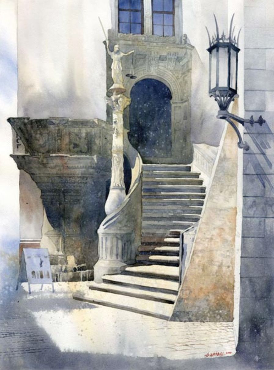 Grzegorz Wrobel Staircase Watercolour Watercolor Architecture