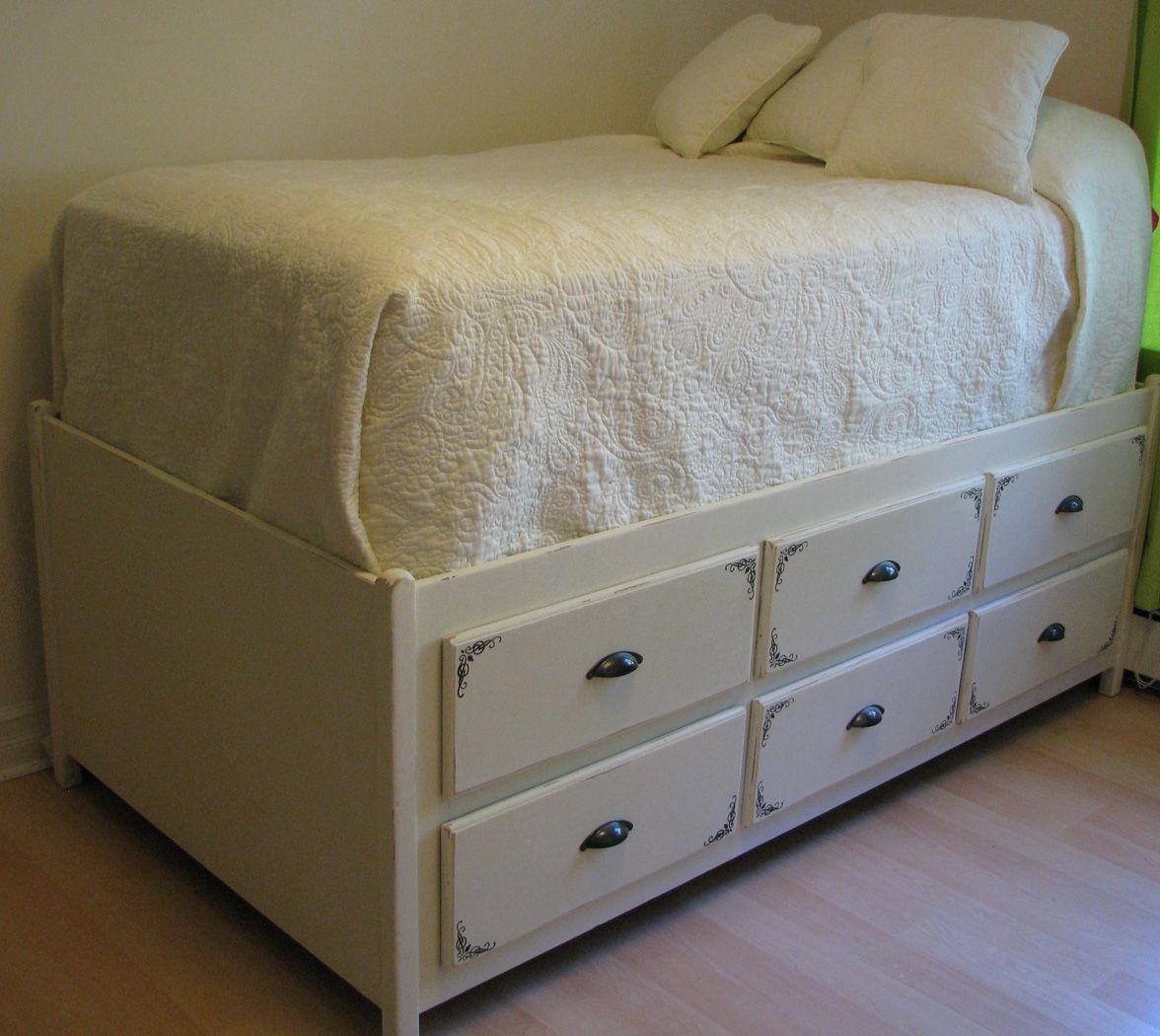 reusing that old dresser bed frame perfect storage solution