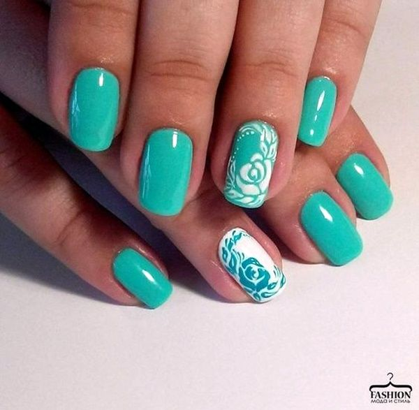 45 Gorgeous Mint Green Nails With Design | Mint green nails and ...