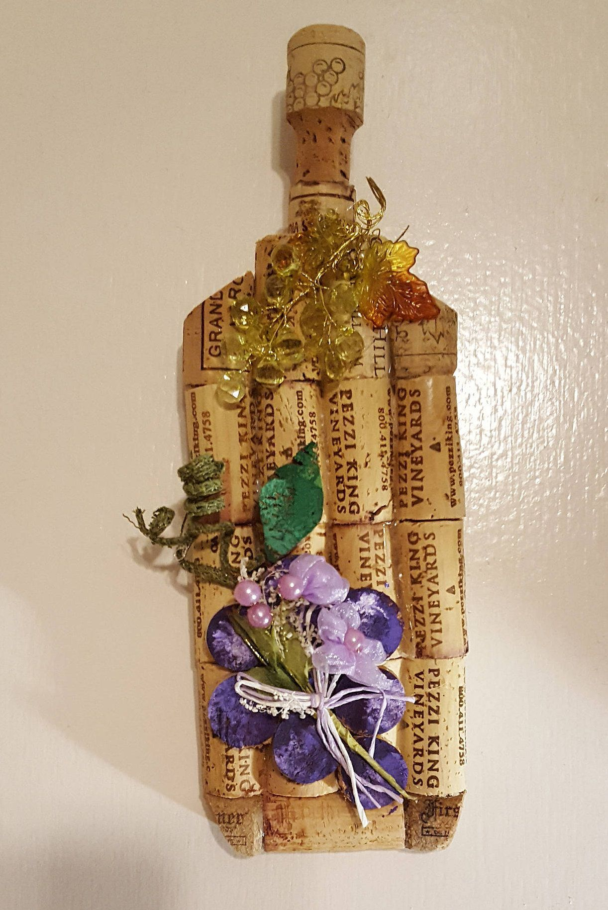 Cork wine bottlerustic cork wine bottle country kitchen wall decor