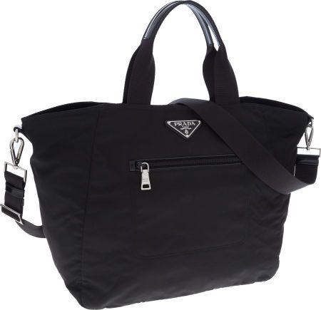 d8dce3ce63 Prada Black Vela Nylon Tote Bag with Shoulder Strap | Prada