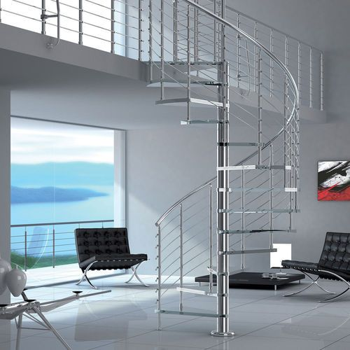 Best Spiral Staircase Stainless Steel Frame Glass Steps 640 x 480