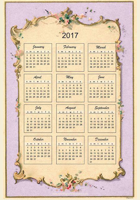 Free printable 2017 vintage design calendar ausdruckbarer
