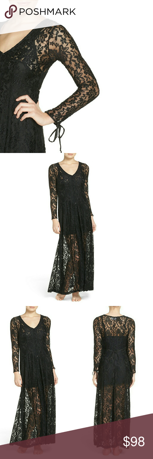Band of gypsies sheer stretch lace duster nwt sm nwt flared skirt