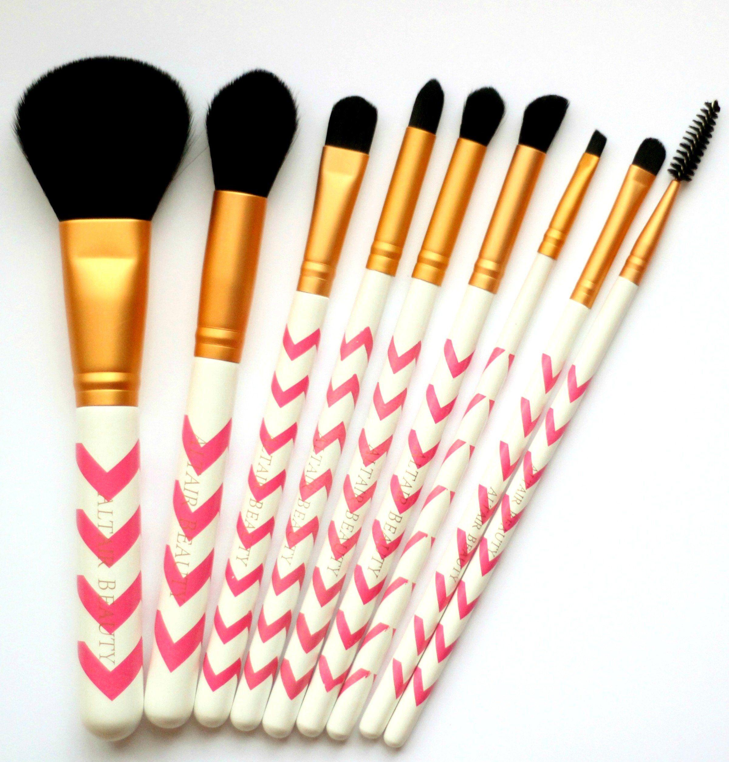 Makeup Brush Set 9pc Pink Chevron Professional Makeup