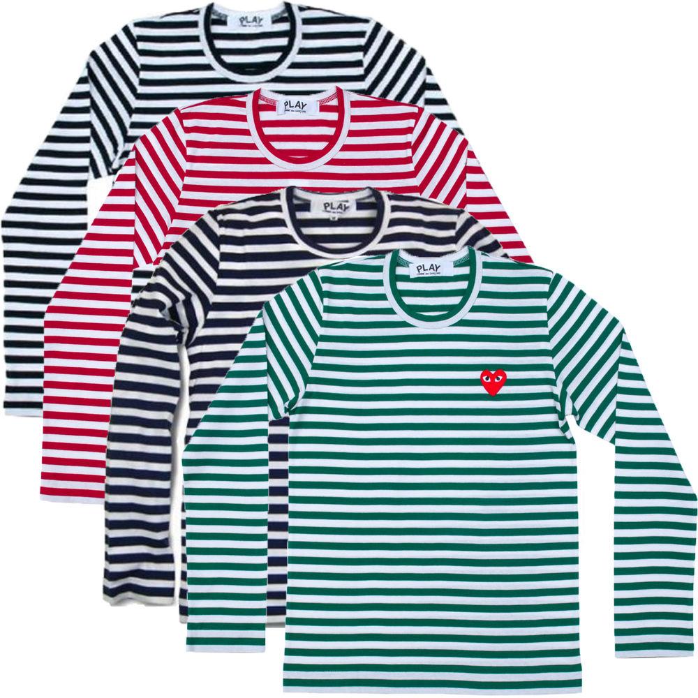 d781f5ae Men Women Comme Des Garcons Cdg Play Long Sleeve Stripe Mini Red Heart T- Shirts