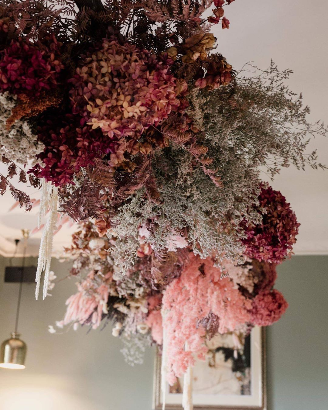 Ash Eco Floral Designer On Instagram Clouds Of Fairy Floss In 2020 Hanging Flowers Christmas Floral Floral Design
