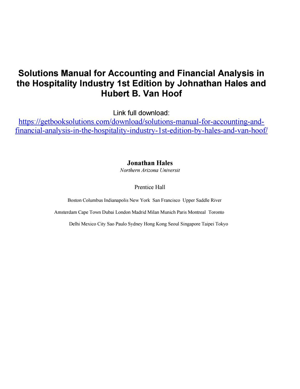 Solutions manual for accounting and financial analysis in the hospitality  industry 1st edition by ha