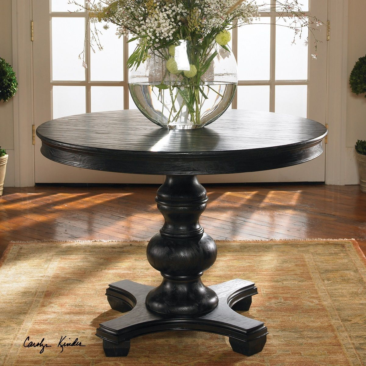 Brynmore Black Round Pedestal Table 42 Round Pedestal Dining Table Pedestal Kitchen Table Black Round Dining Table
