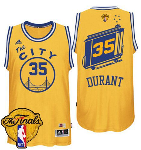 san francisco 6e1b3 19e89 Warriors #35 Kevin Durant Gold Throwback The City The Finals ...