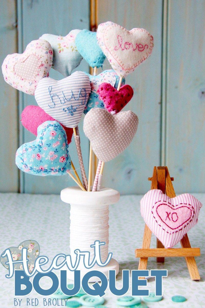 Projetos de costura de Tilda - Bouquet do coração por Brolly vermelho