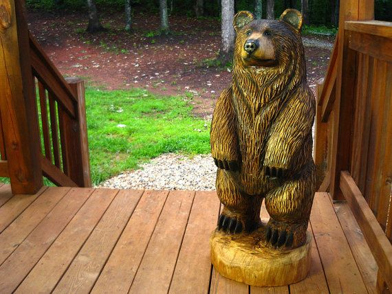 Foot brown bear chainsaw wood sculpture by
