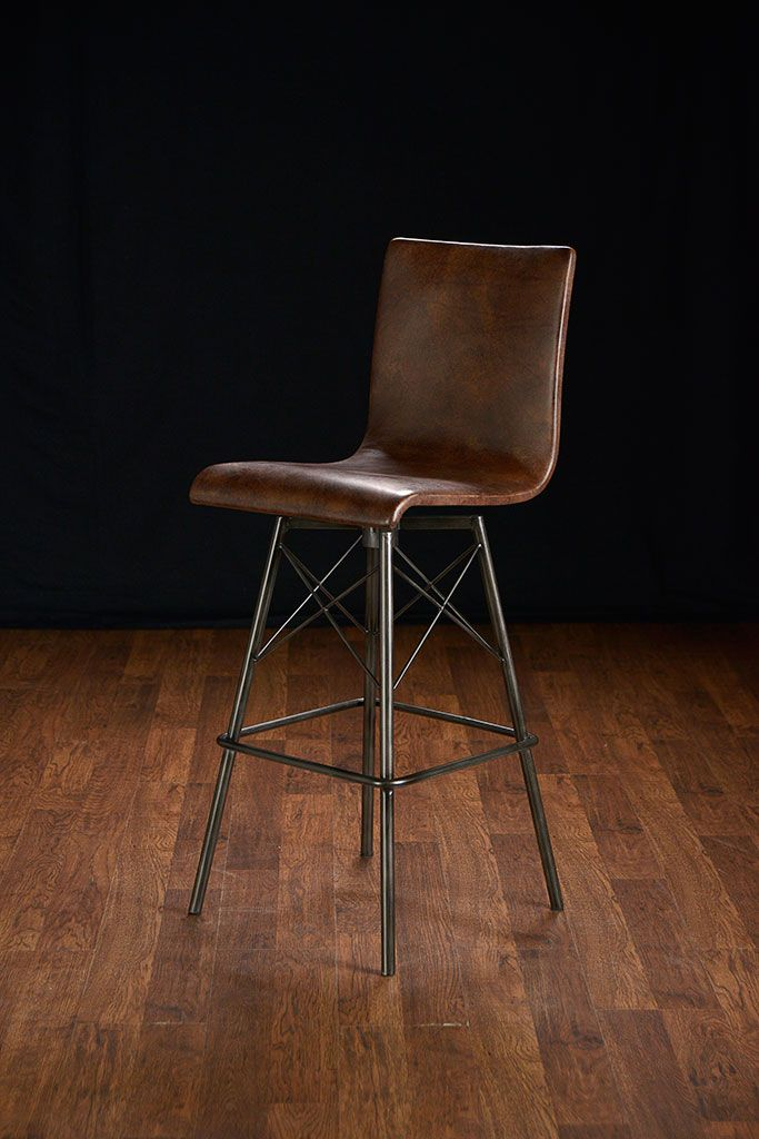 Jenna Weathered Swivel Leather Bar Stool With Metal Cross