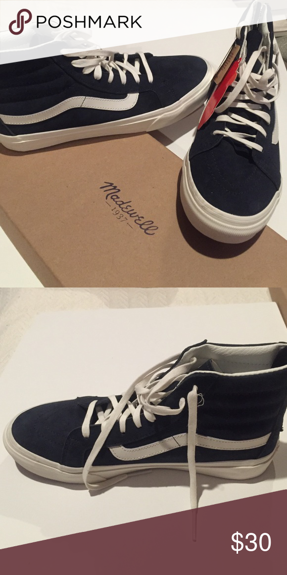 ab1a9b398a Vans suede high tops Madewell Vans Dark Blue Suede Hightops unisex size 8 Vans  Shoes Sneakers