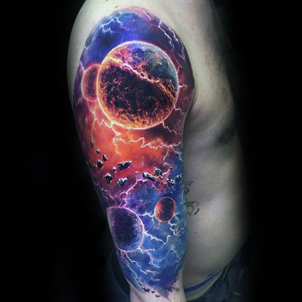 3d mens colorful unique outer space planets sleeve tattoo for Outer space stage design