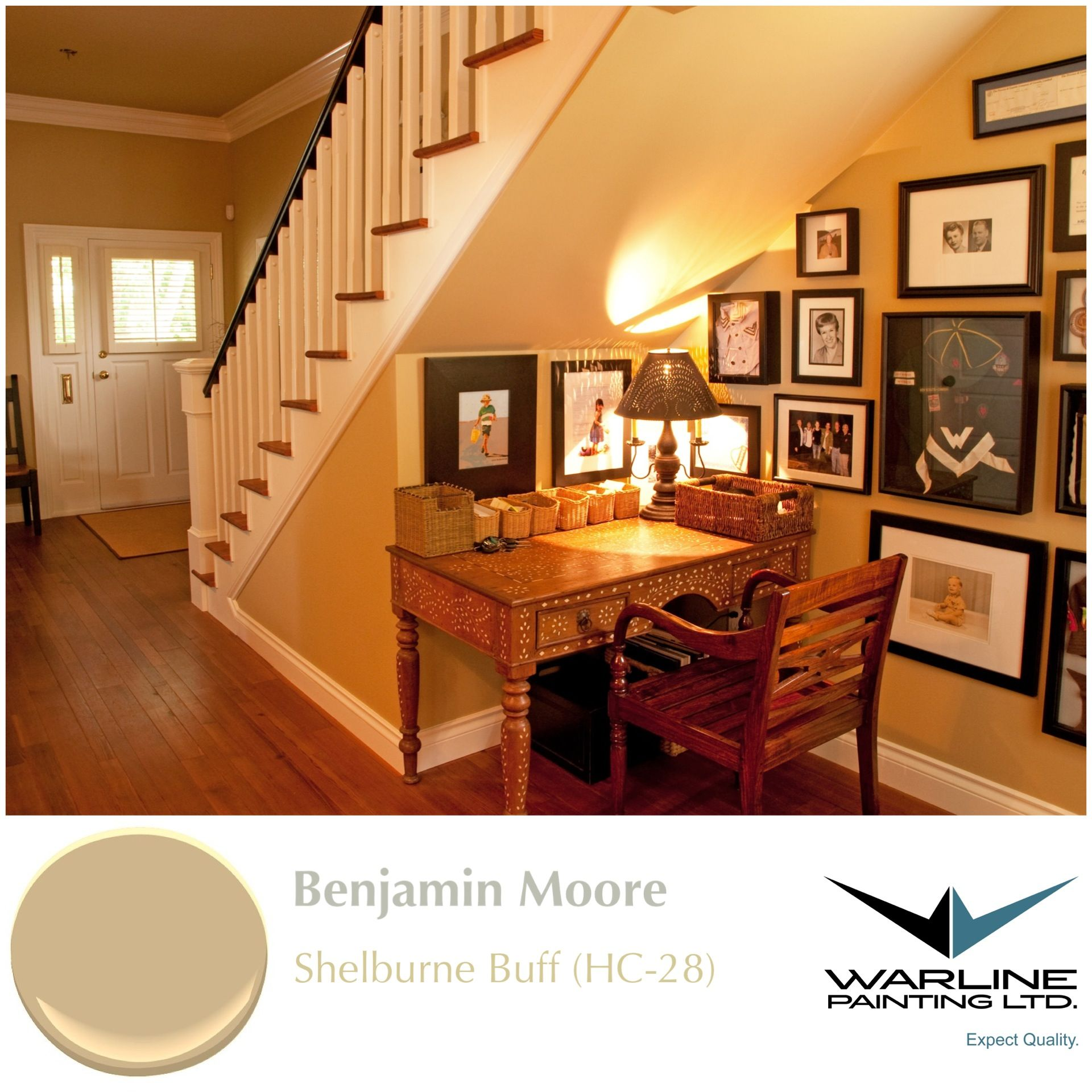 60 Unbelievable Under Stairs Storage Space Solutions: Benjamin Moore Shelburne Buff HC-28 Has The Homiest