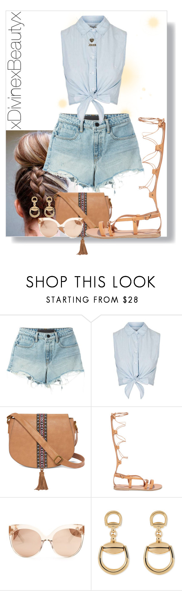 """""""Untitled No.253"""" by xdivinexbeautyx ❤ liked on Polyvore featuring T By Alexander Wang, Topshop, T-shirt & Jeans, Ancient Greek Sandals, Linda Farrow and Gucci"""