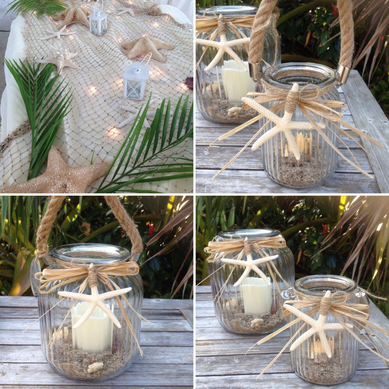 Coastal Glass Lantern Beach Wedding Decorationsstarfish Centerpiece LanternStarfish