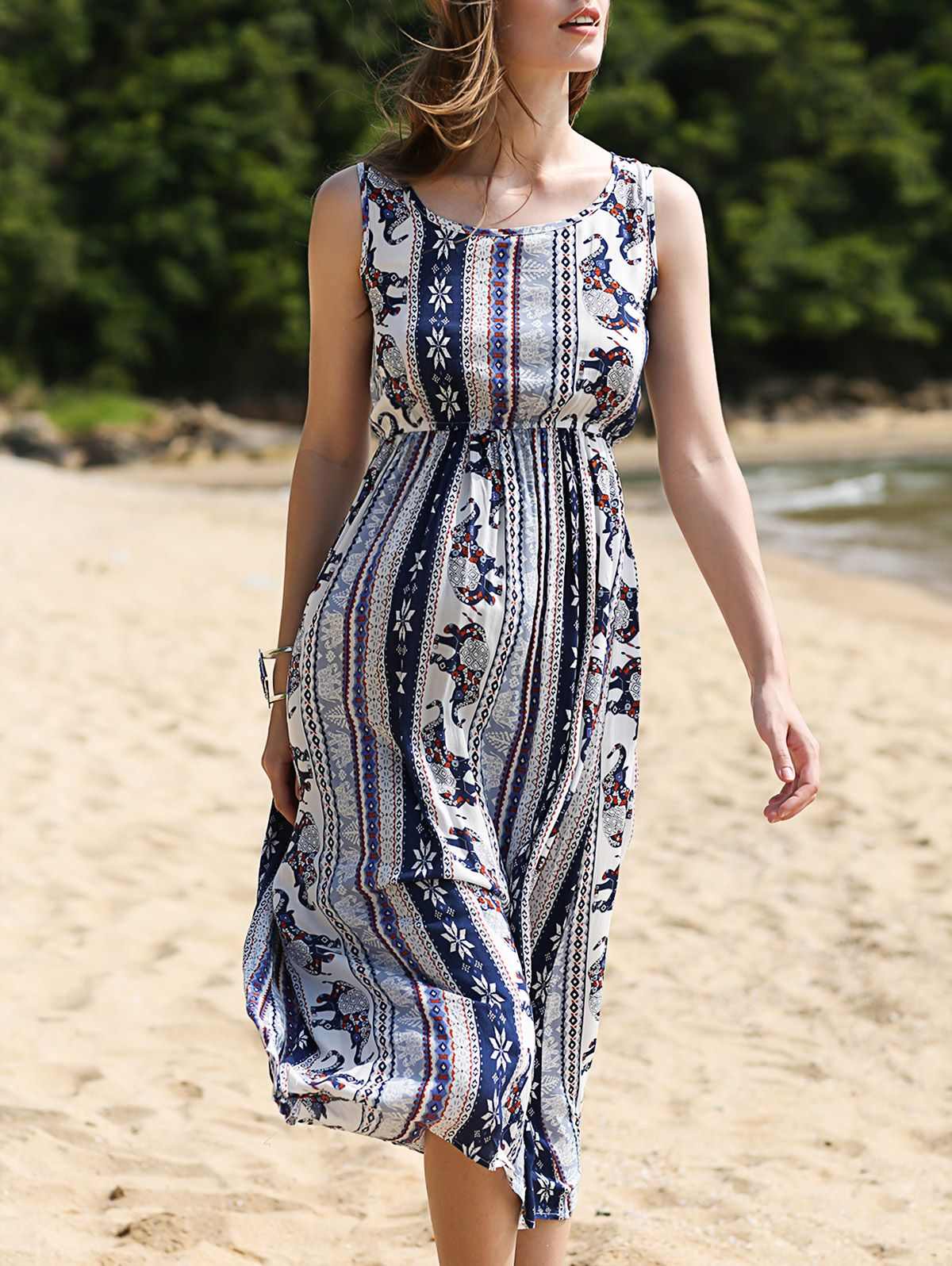 Printed Waisted Long Dress COLORMIX: Casual Dresses | ZAFUL