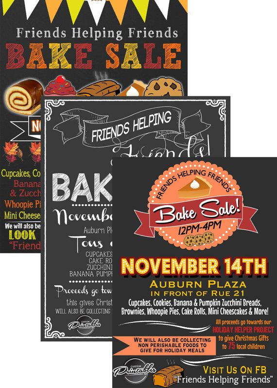 Bake Sale Flyer, Bake Sale Invitation, Fall Bake Sale, Christmas