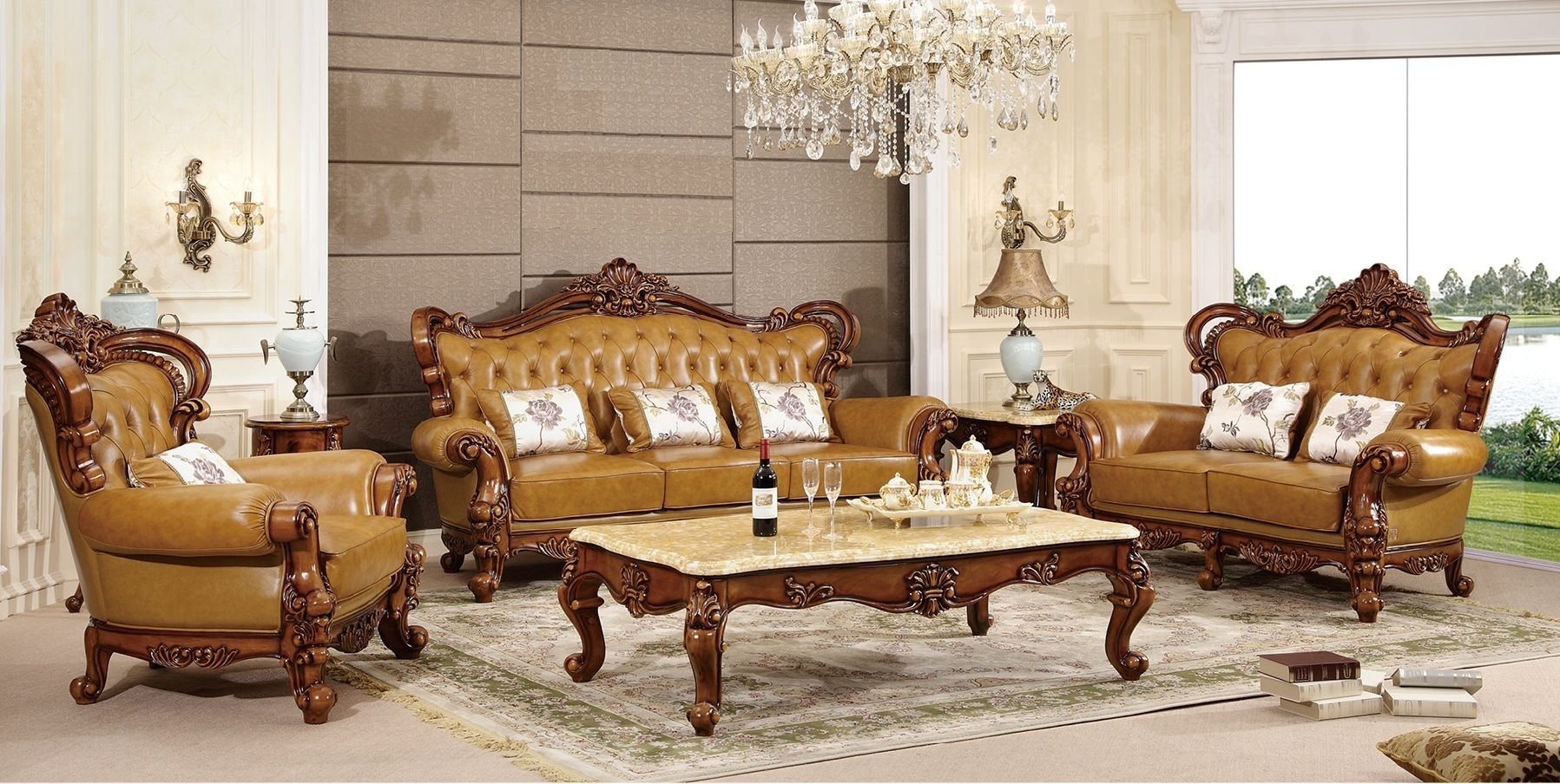 Ma Xiaoying Genuine Leather Solid Wood Beech Traditional Collection Living Room Furniture Sets Living Room Sofa Set Living Room Sets Furniture Furniture #rattan #living #room #sets