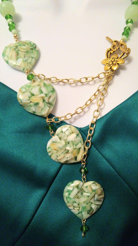 Handmade heart necklace heart earrings green necklace set