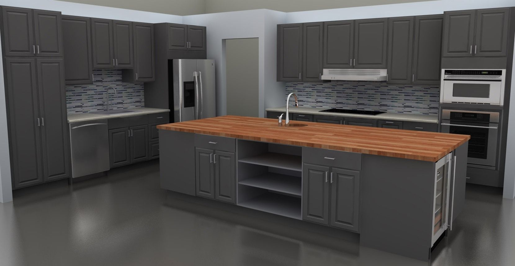 The Gorgeous Ikea Butcher Block Counter Looks Great At This Large Island Description From Inspiredkitchend Modern Grey Kitchen Grey Kitchen Grey Kitchen Floor