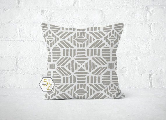 Beige Grey Geometric Pillow Cover  Ribble Cove  Lumbar by motion52
