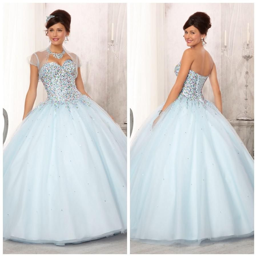 Wholesale Quinceanera Dresses - Buy Pretty Sequins Bodice With Colored Beadings Ruffle Tulle Ball Gowns Light Sky Blue Special Occassion Quinceanera Dresses ED-177, $199.0 | DHgate