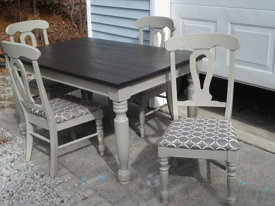 Solid Wood Table And Chairs After Kona Stain Annie Sloan