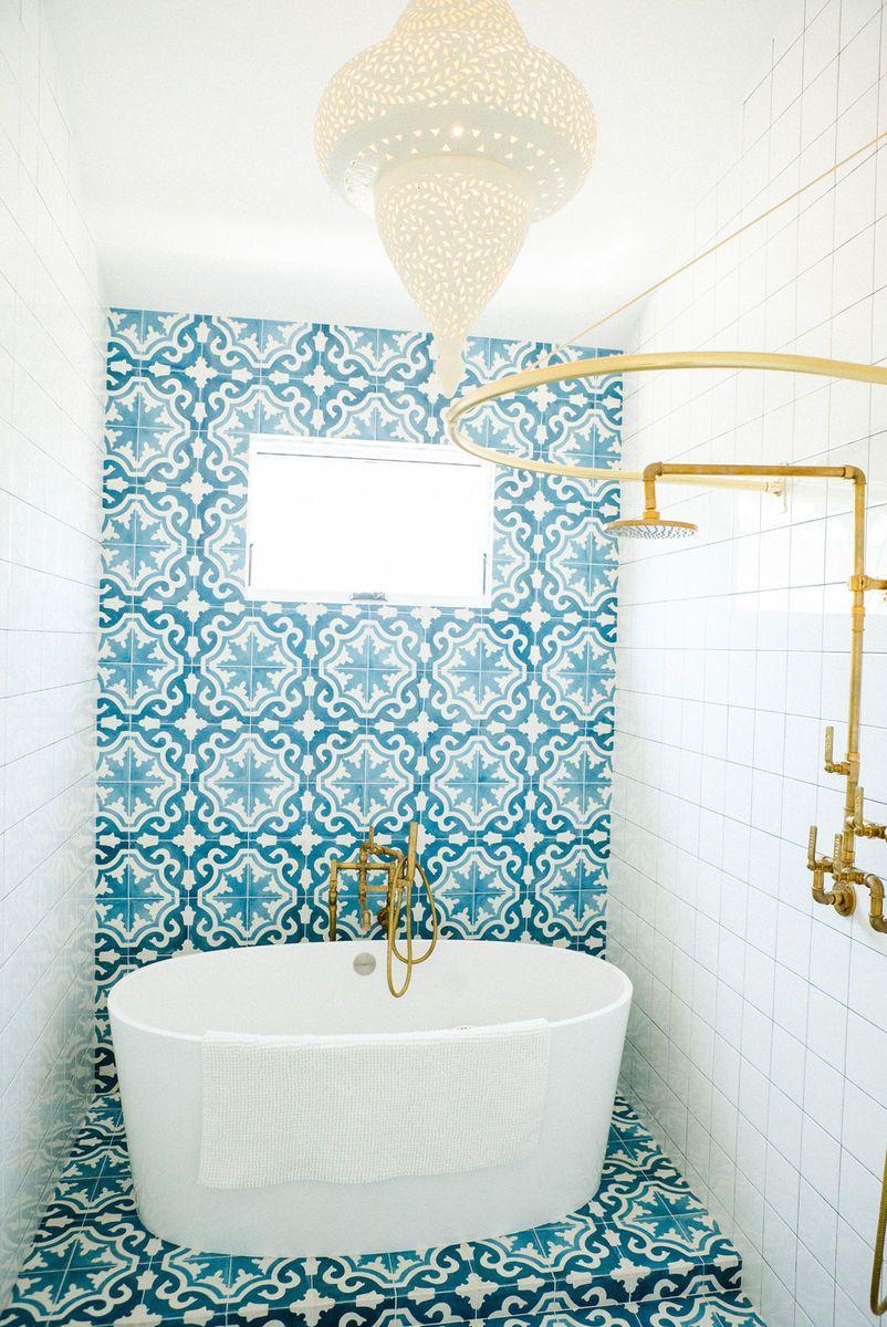 Blue White Bathroom Tile Brass Fixtures By Leanne Ford Interiors Blue Bathroom Tile Patterned Bathroom Tiles Bathroom Interior