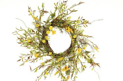 "Yellow Honeysuckle Flower Wreath on Grapevine, 22"" in Diameter by Cherokee Rose Trading. $50.00. Artificial Yellow Honeysuckle Vine on a natural Grapevine Wreath."